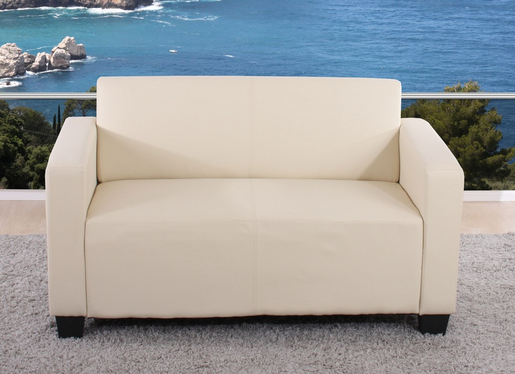2er Sofa Couch Lyon Loungesofa Kunstleder Creme throughout dimensions 2560 X 1859