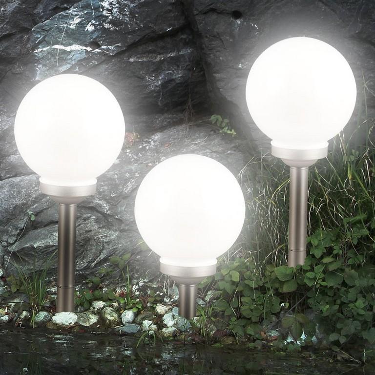 3er Set Led Solarleuchte Kugel Garten Beleuchtung Auen Leucht Lampe with regard to measurements 1000 X 1000