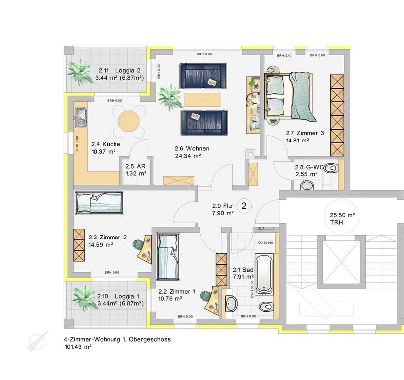 4 Zimmer Wohnung Im 1obergeschoss W2 Klia Wohnpark in measurements 1223 X 1153