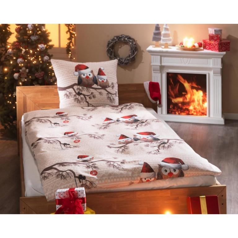 Biber Bettwsche Weihnachts Eule 135x200 Natur Dnisches in size 960 X 960