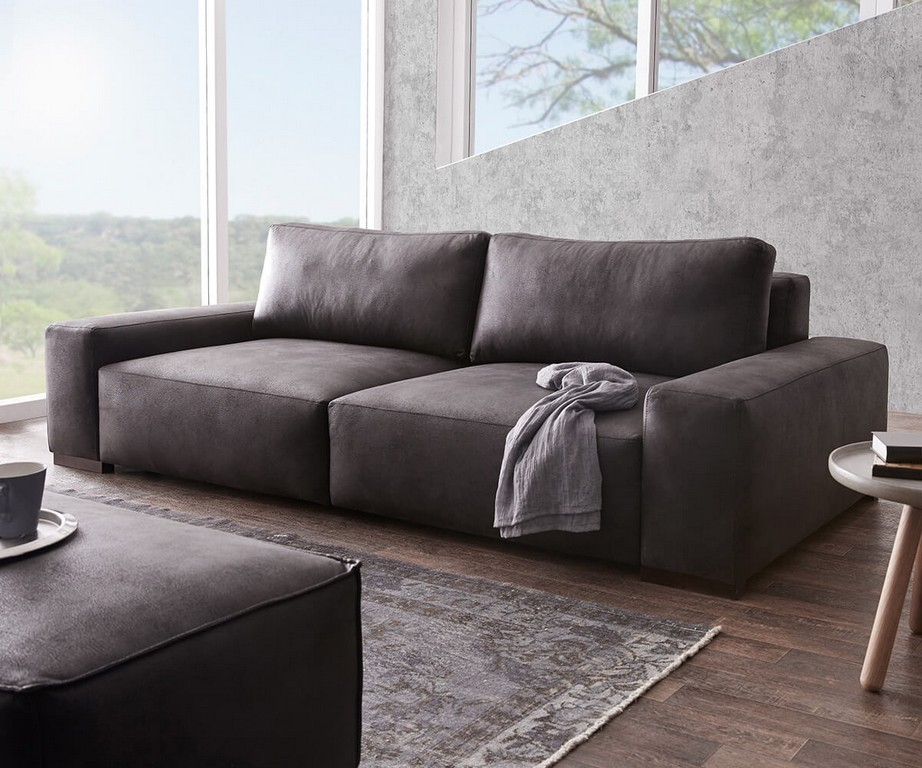 Bigsofa Lanzo Xl Anthrazit 270x125 Cm Vintage Optik Mit Kissen Big Sofa throughout dimensions 1200 X 1000