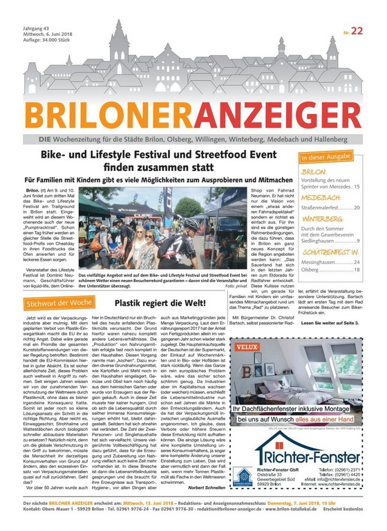 Briloner Anzeiger Ausgabe Vom 06062018 Nr22 Brilon Totallokal within measurements 1085 X 1489
