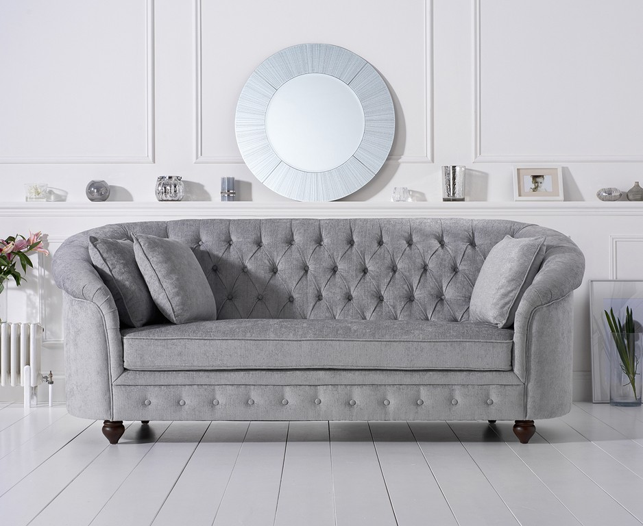 Casey Grey Plush 3 Seater Sofa 305631 79700 Norwich regarding proportions 1466 X 1200
