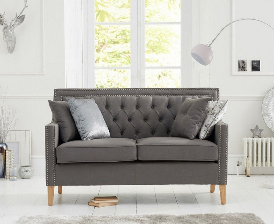 Chatsworth Chesterfield Grey Fabric 2 Seater Sofa The Great with regard to proportions 1132 X 927