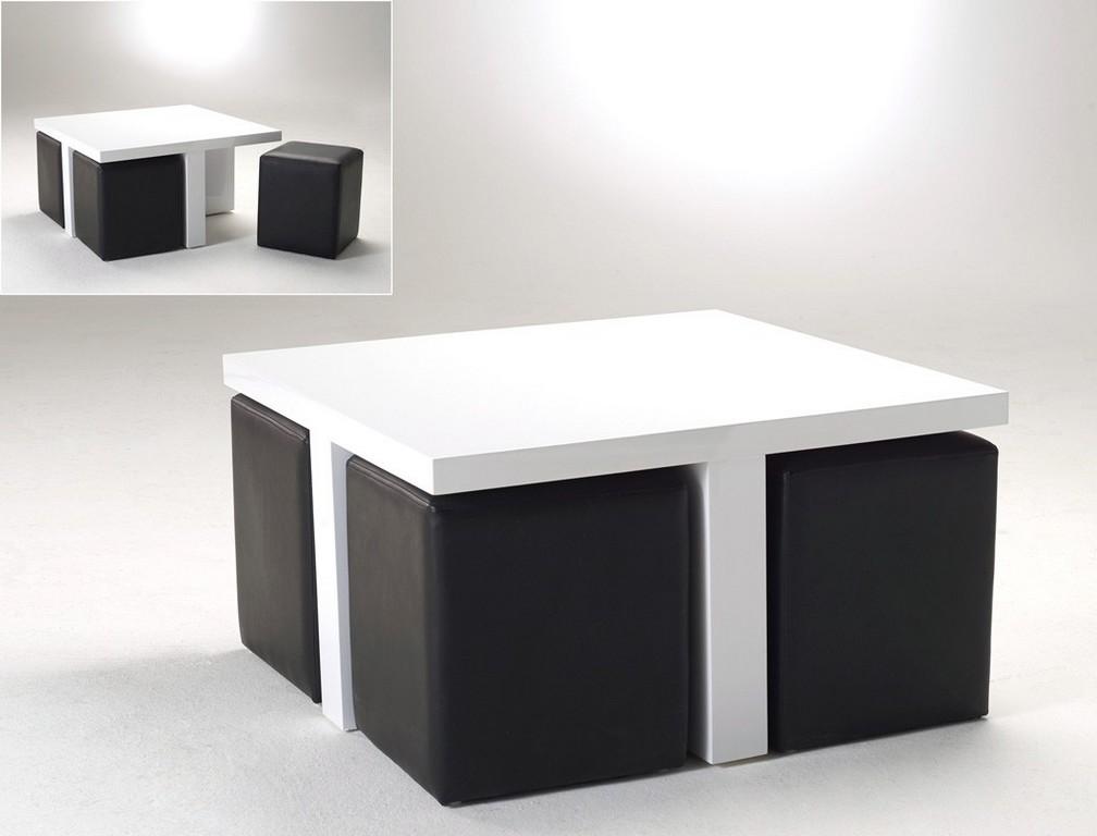 Couchtisch 80x80x46 Hochglanz Wei 4 Hocker Kunstleder in size 1050 X 800