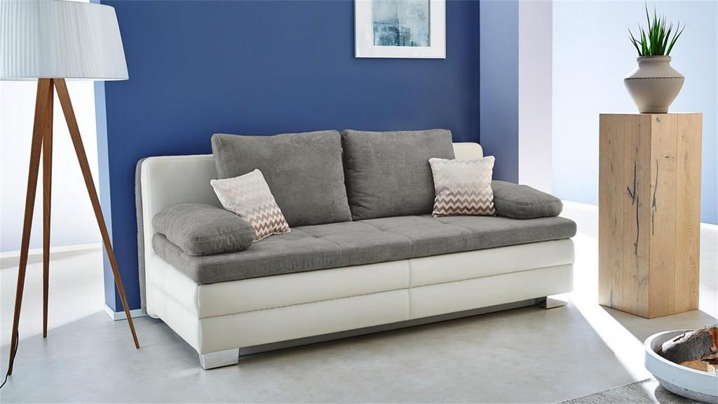 Dauerschlfer Lincoln Schlafsofa Sofa In Wei Grau Mit Topper in dimensions 1500 X 844
