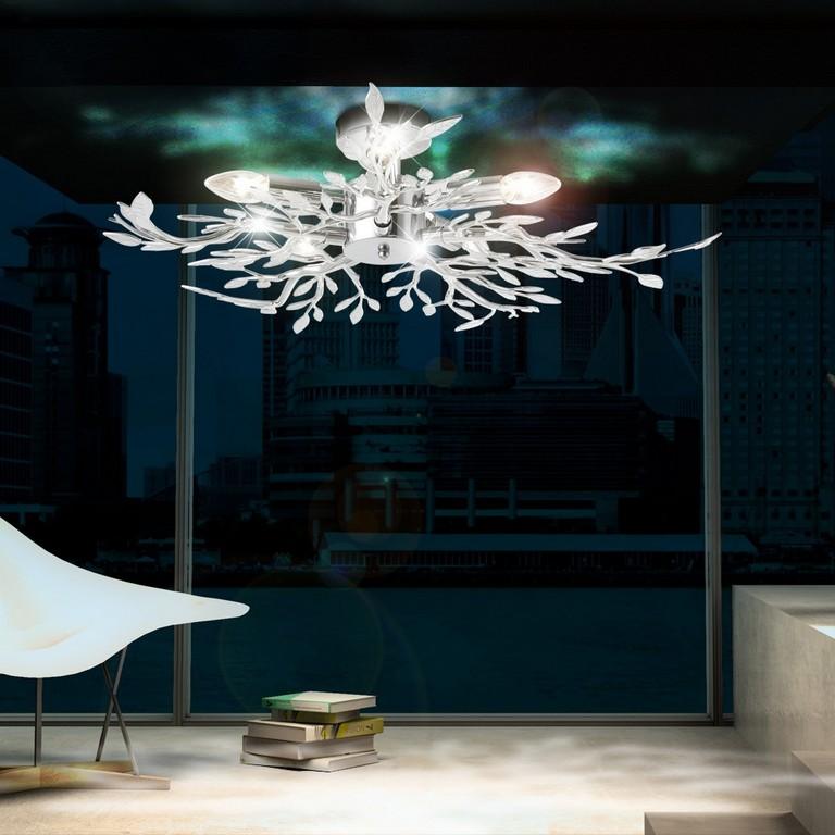 Decken Leuchte Beleuchtung Acryl Bltter Verchromt Wohnzimmer Lampe with regard to proportions 1000 X 1000