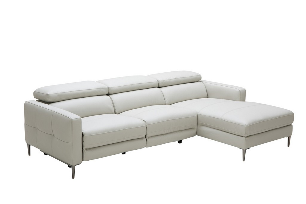 Divani Casa Booth Modern Light Grey Leather Sectional Sofa W throughout measurements 1200 X 800