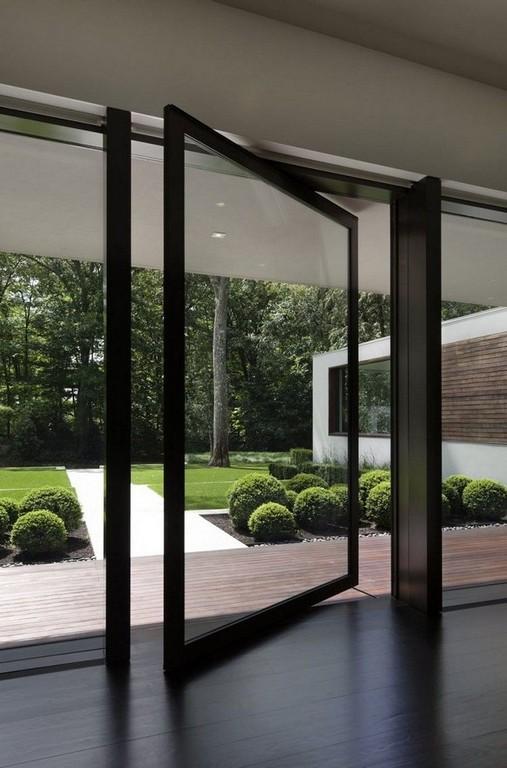 Drehtr Mit Schwarzem Rahmen Als Zugang Zur Terrasse Fenster Und for sizing 750 X 1137