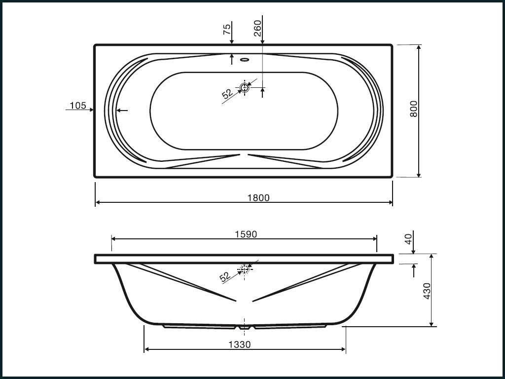 Duo Badewanne Mae 180x80x43cm within dimensions 1024 X 768