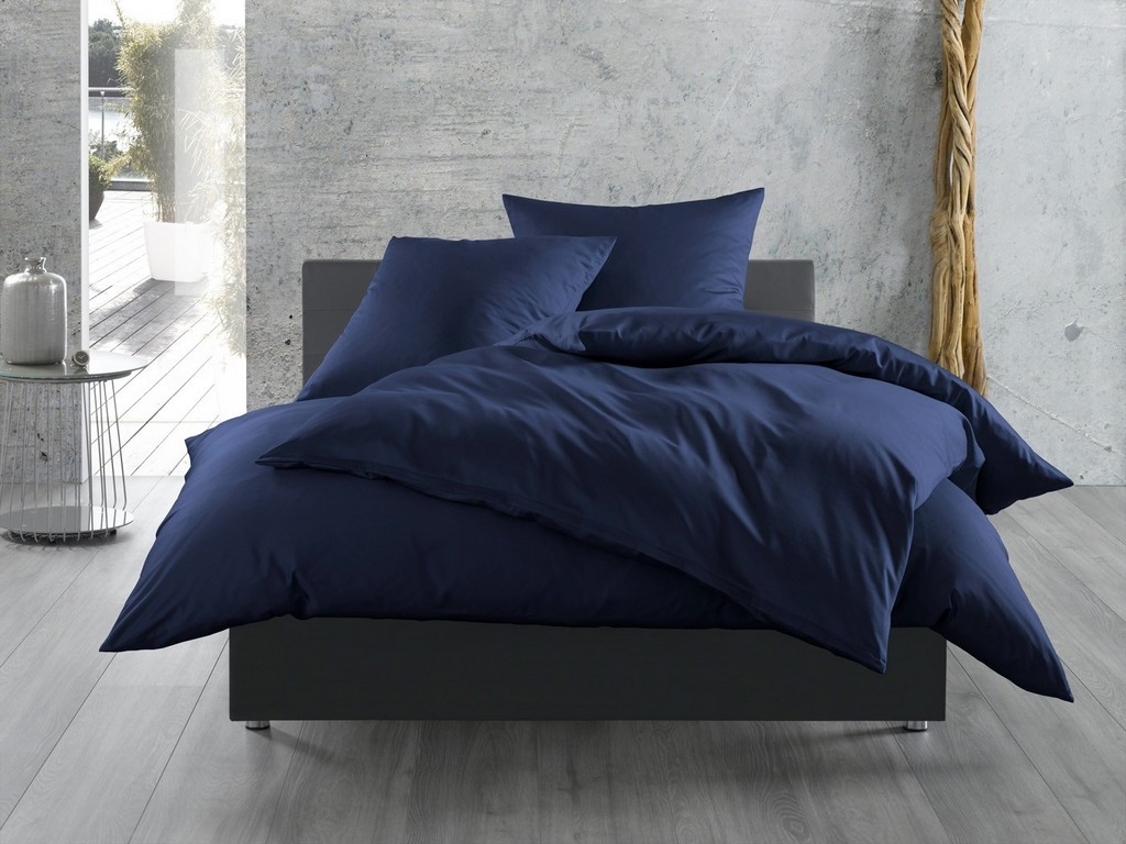 Einfarbige Bettwsche Dunkelblau Bettwaesche Mit Stil in sizing 1400 X 1050
