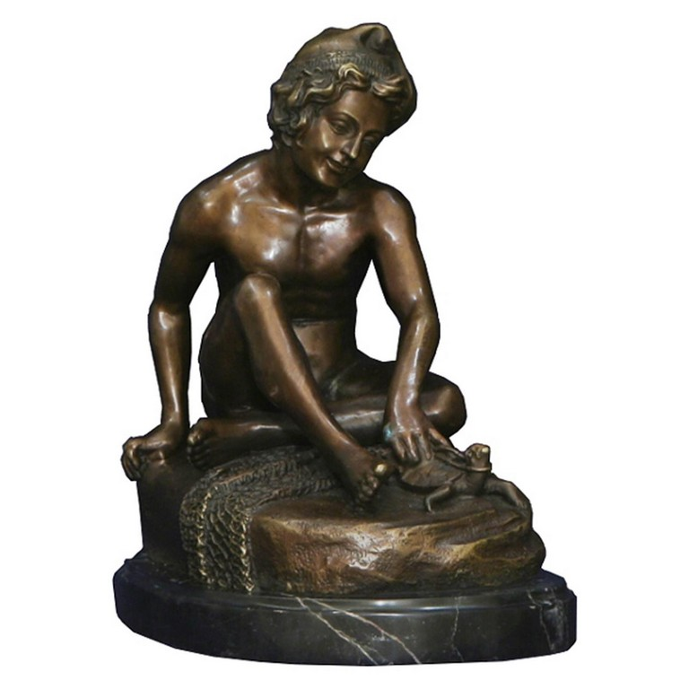 Fischer Junge Bronzefigur Bronze Statue Garten Skulptur Antike inside measurements 1600 X 1600