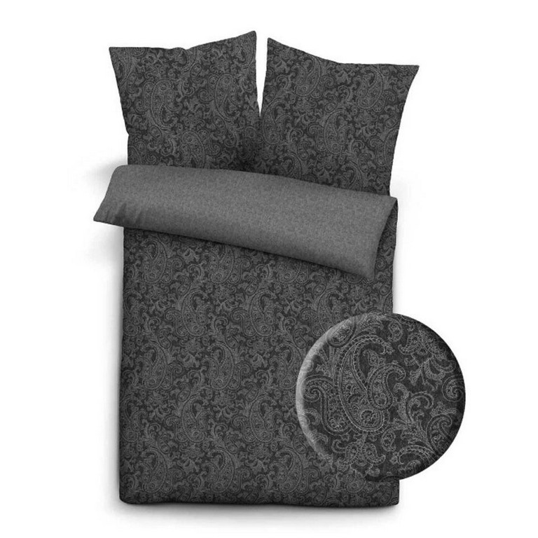 Flanell Melange Bettwsche Paisley 135x200 Schwarz Grau in sizing 960 X 960