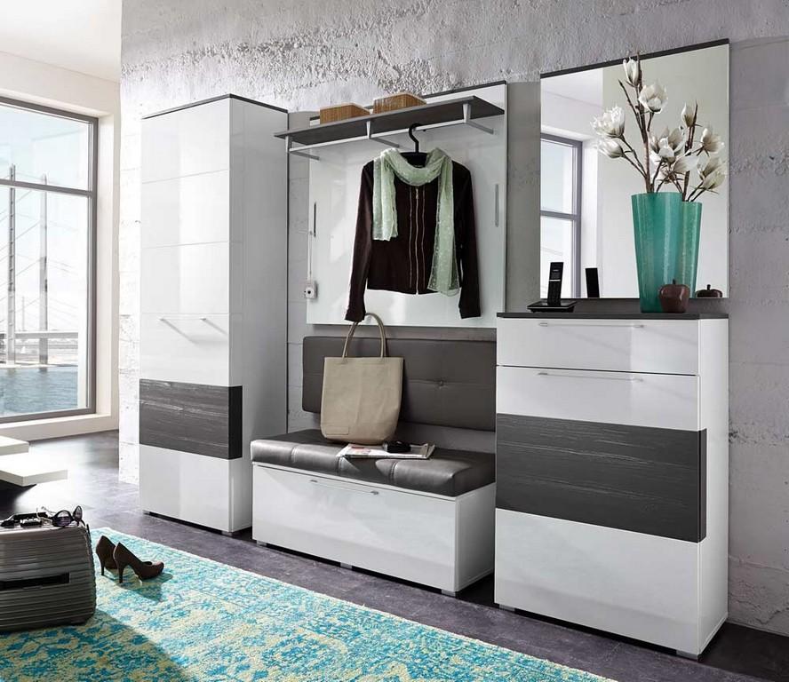 Garderobe Flur Diele Flurmbel Hochglanz Glanz Lack Wei Grau Neu intended for sizing 1000 X 865
