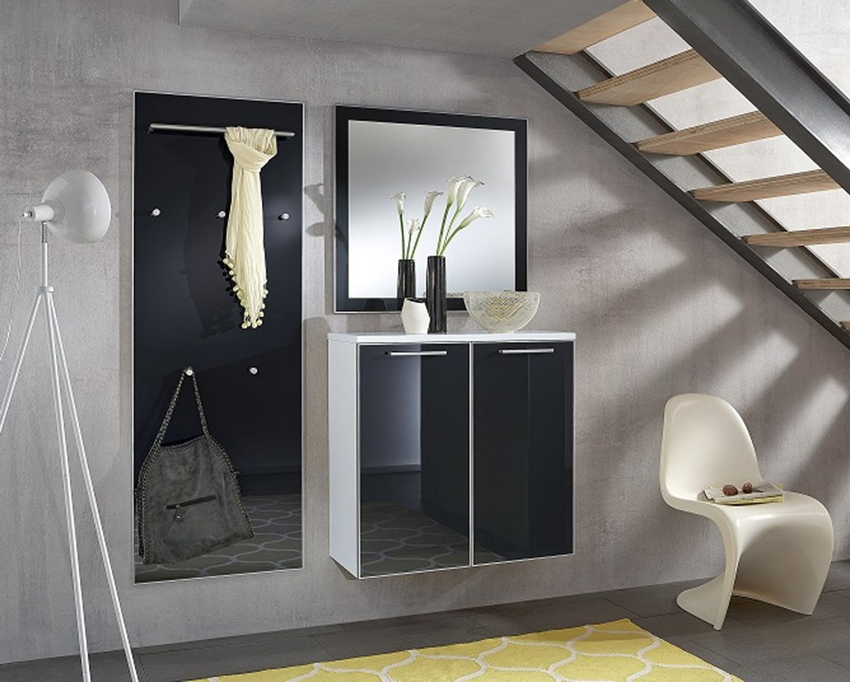 Garderobe Ventina Front Glas Anthrazit Korpus Wei Lack Von Voss intended for measurements 1100 X 883
