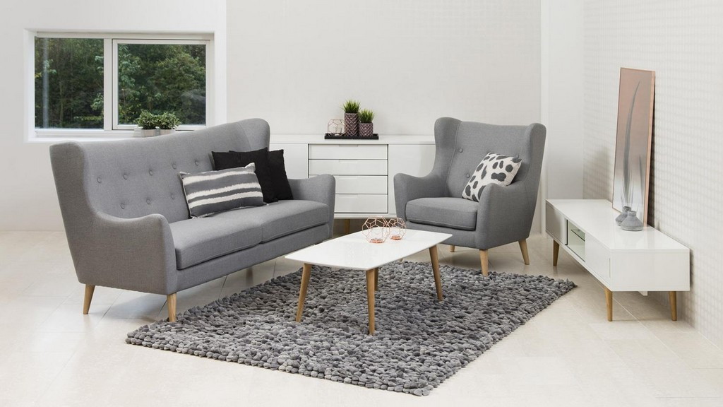 Garnitur Kamma Retro 3 Sitzer Sofa Sessel Stoff Hellgrau within dimensions 1500 X 844