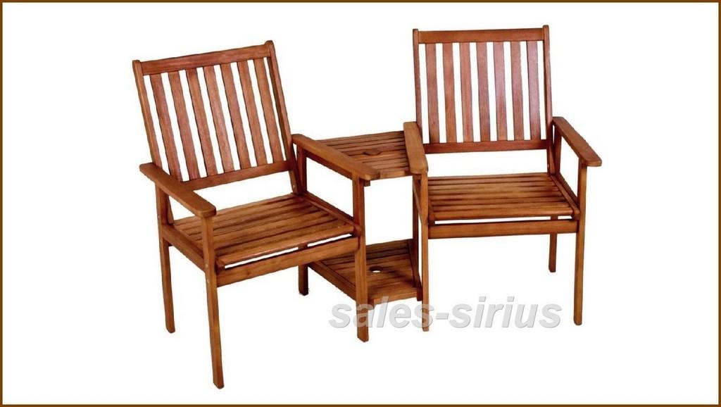 Garten Bank Holz Doppel Relax Liebes Sessel 2er Loveseat Paar Tisch in dimensions 1510 X 853