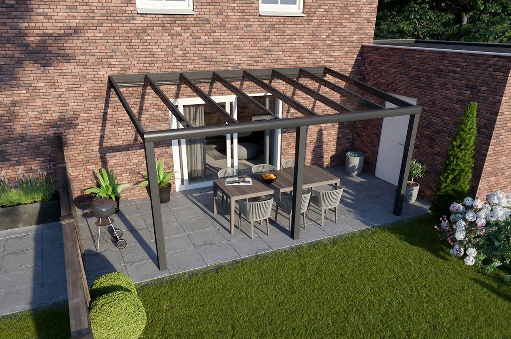 Greenline Terrassendach Glas Anthrazit Design 5000 Mm 2500 Mm within sizing 1280 X 850
