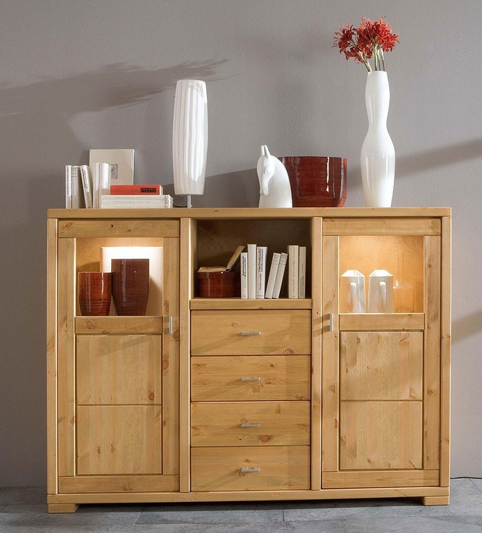 Highboard 168x127x43cm 2 Holz Glastren 4 Schubladen Kiefer in measurements 858 X 950