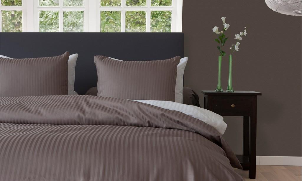 Hnl Living Uni Stripe Mako Satin Bettwsche Taupe Grey Perfekt within sizing 1600 X 960