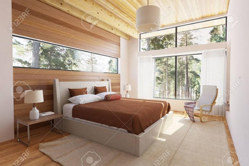 Holz Schlafzimmer Interieur Mit Bett Holzstirnwnde Und Groe pertaining to proportions 1300 X 866