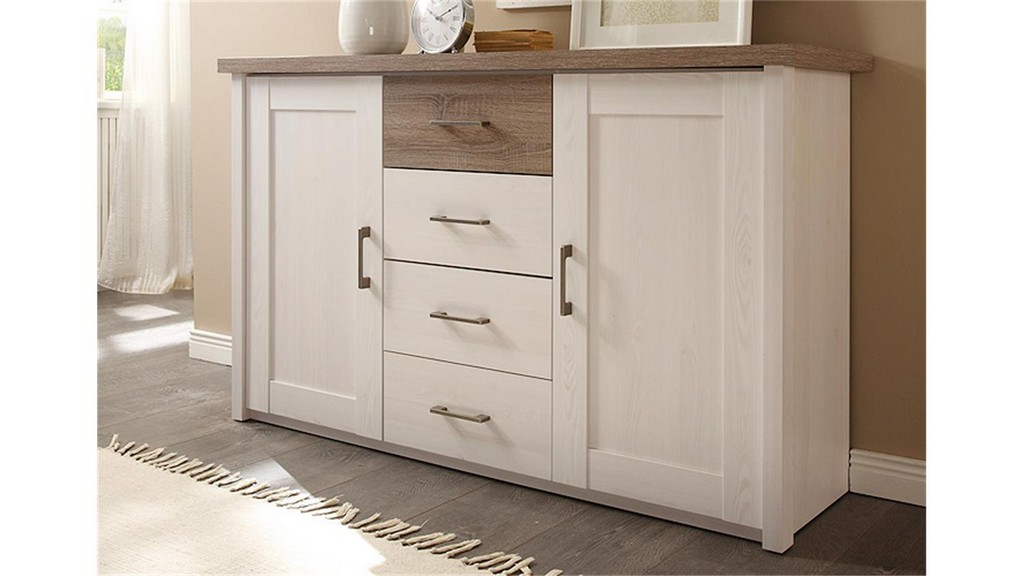 Kommode Luca Sideboard In Pinie Wei Und Trffel within size 1500 X 844