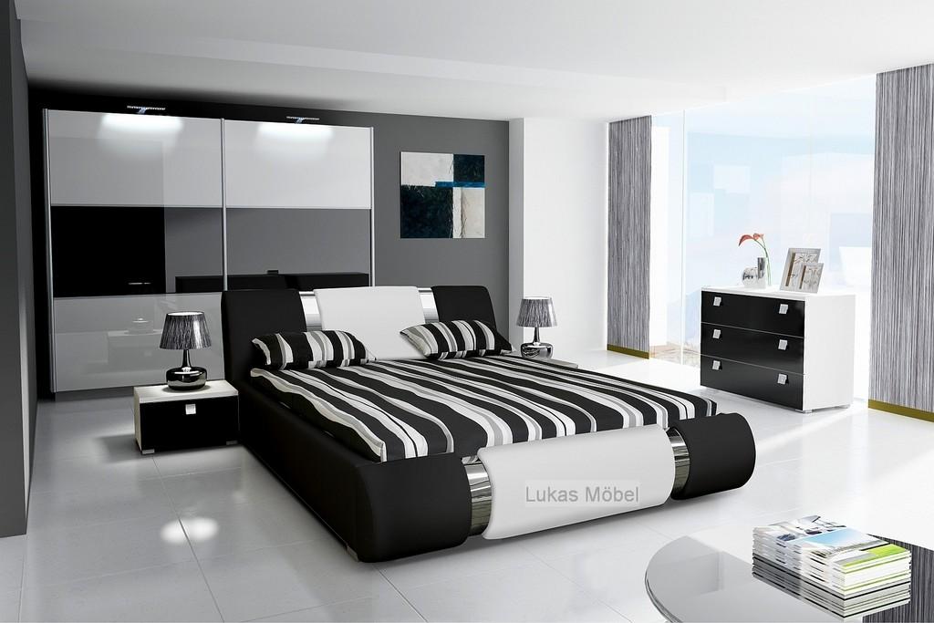 Komplett Schlafzimmer Novalis Hochglanz Schwarz Wei regarding proportions 1600 X 1067
