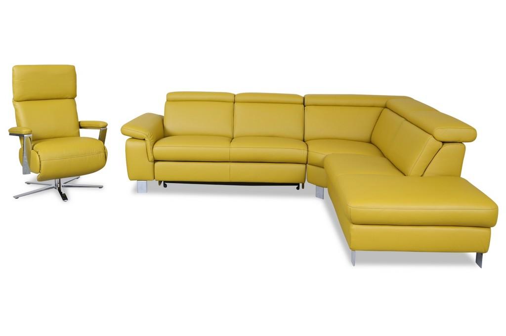 Leder Rundecke Mit Sessel Mit Relax Und Schlaffunktion Gelb with regard to proportions 1280 X 850