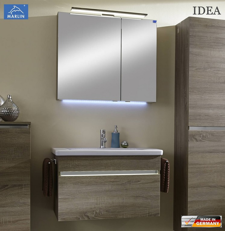 Marlin Idea Badmbel Set Mit 80 Cm Keramik Waschtisch Led pertaining to proportions 1103 X 1136
