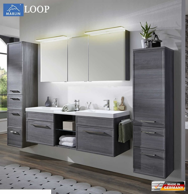 Marlin Loop Badmbel Set 160 Cm Mit Led Spiegelschrank pertaining to measurements 1103 X 1136