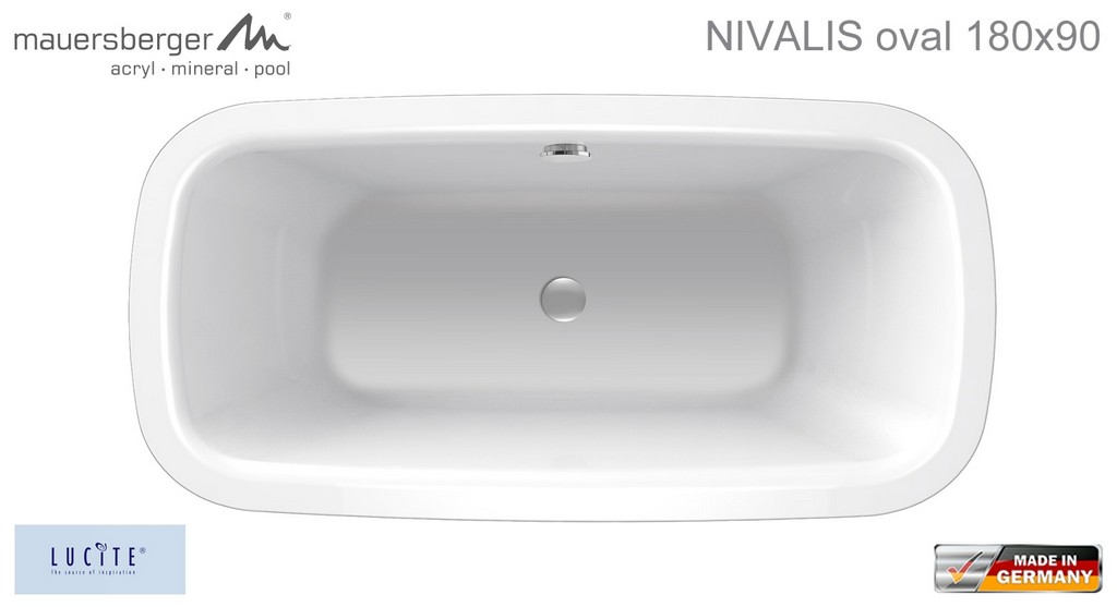 Mauersberger Badewanne Nivalis 180 X 90 Cm Acryl Oval Impulsbad throughout size 1536 X 835