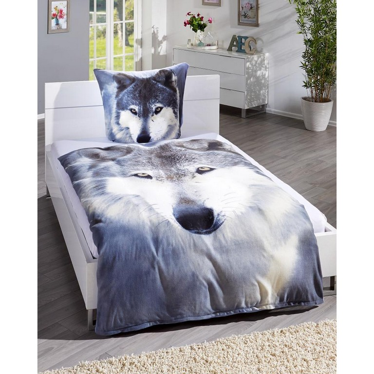 Microfleece Bettwsche Wolf 135x200 Wei Grau Dnisches Bettenlager for sizing 960 X 960
