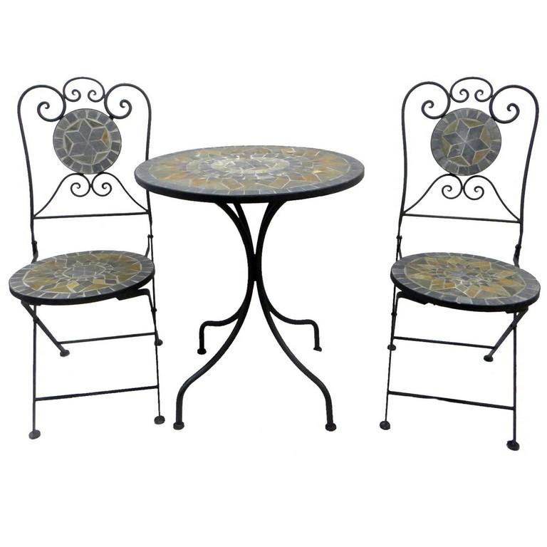 Mosaik Bistroset Metall 3teilig Klappbar Balkonset Gartenmbel Eisen pertaining to dimensions 1600 X 1600