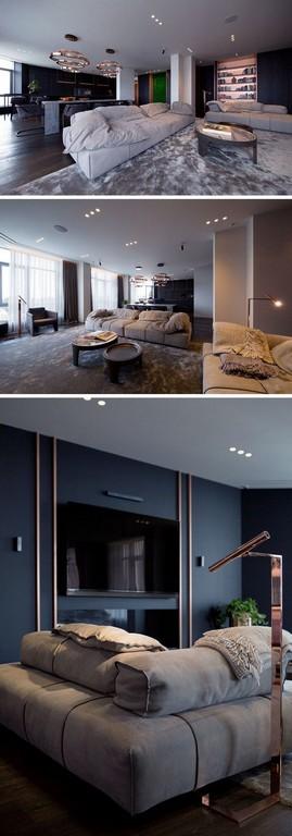 Offenes Wohnzimmer Kupfer Akzente Wanddeko Leuchten Innendesign with sizing 750 X 2144