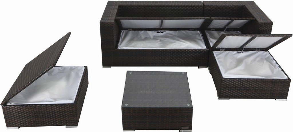 Polyrattan Loungembel Set B Braun Marmoriert Fr 5 Personen with regard to dimensions 1500 X 676