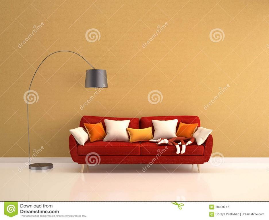 Rotes Sofa Mit Viel Von Kissen Und Von Stehlampe Auf Gelb Stock with regard to proportions 1300 X 1065