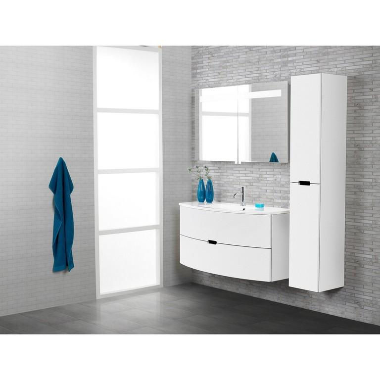 Scanbad Badmbel Set 90 Cm Mit Spiegelschrank Modern Wei Hochglanz with measurements 1500 X 1500