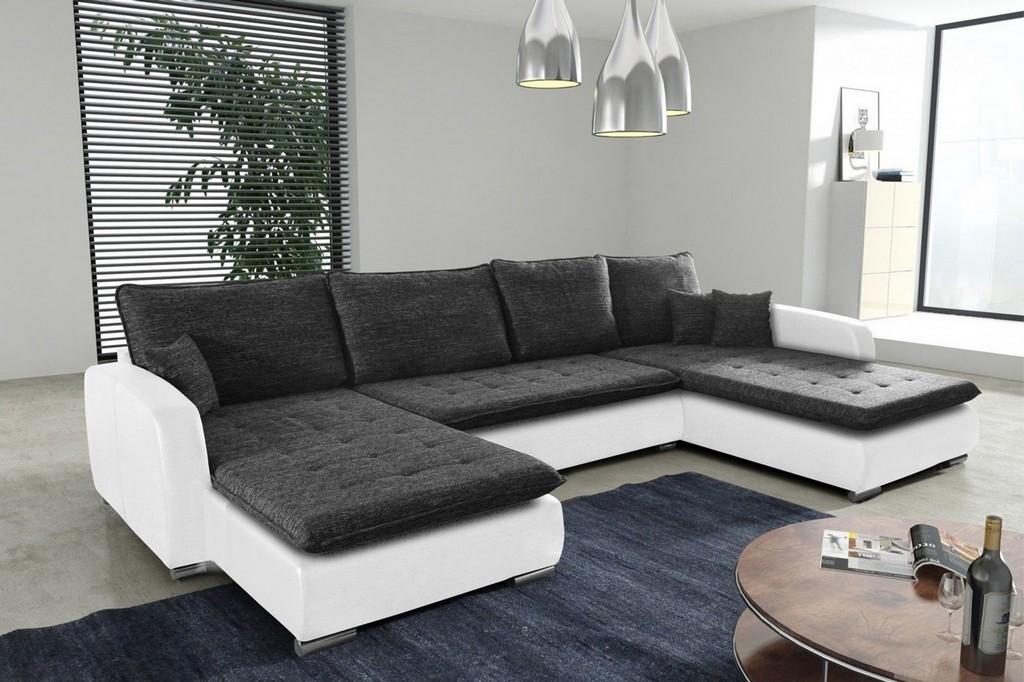 Schlafsofa Sofa Couch Ecksofa Eckcouch Weiss Schwarz Schlaffunktion pertaining to proportions 2500 X 1665
