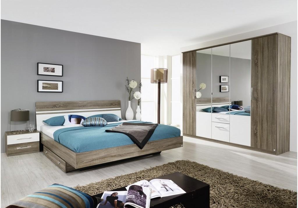 Schlafzimmer Mit Bett 180 X 200 Cm Alpinweiss Eiche Havanna Woody in dimensions 1250 X 875