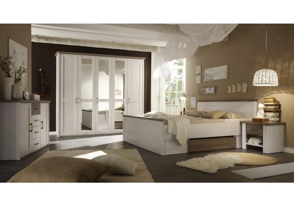 Schlafzimmer Mit Bett 180 X 200 Cm Pinie Weiss Trffel Woody 62 throughout proportions 1250 X 875