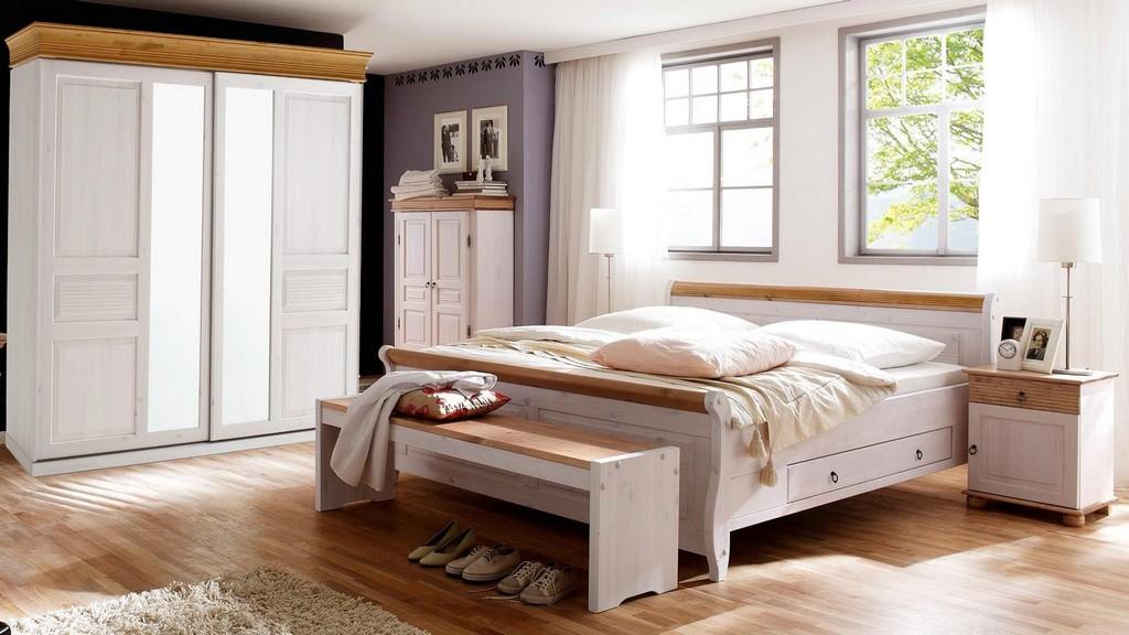 Schlafzimmer Oslo 4 Tlg Set Kiefer Massiv Wei Antik Mit Schweber for sizing 1500 X 844