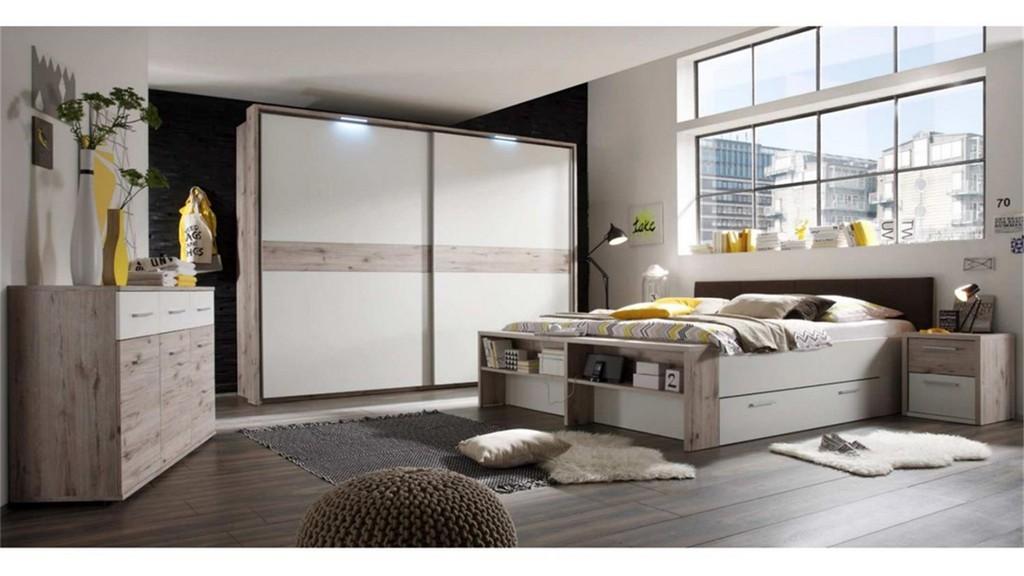 Schlafzimmer Set Jules In Sandeiche Und Wei Bett 180x200 throughout size 1500 X 844