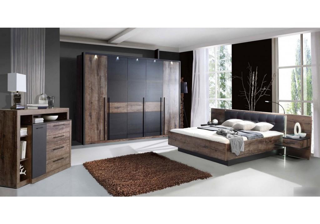 Schlafzimmer Set Mit Bett 180 X 200 Cm Schwarzeiche Woody 77 00741 regarding measurements 1250 X 875