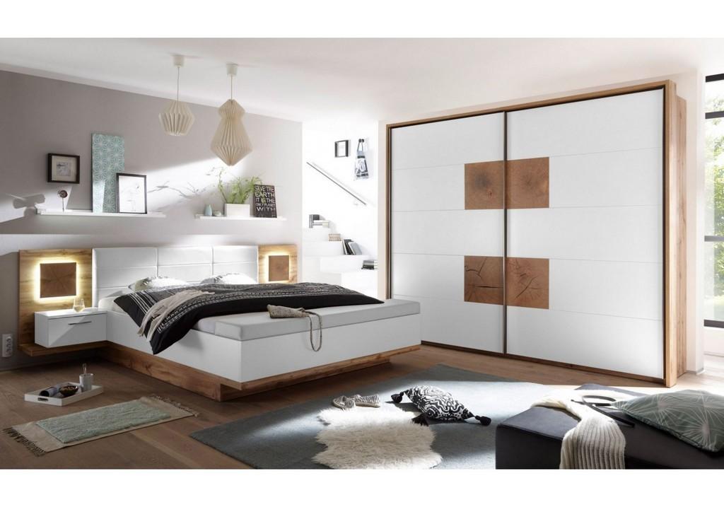 Schlafzimmer Wildeiche Weiss Mit Bettanlage Und Beleuchtung Woody with dimensions 1250 X 875