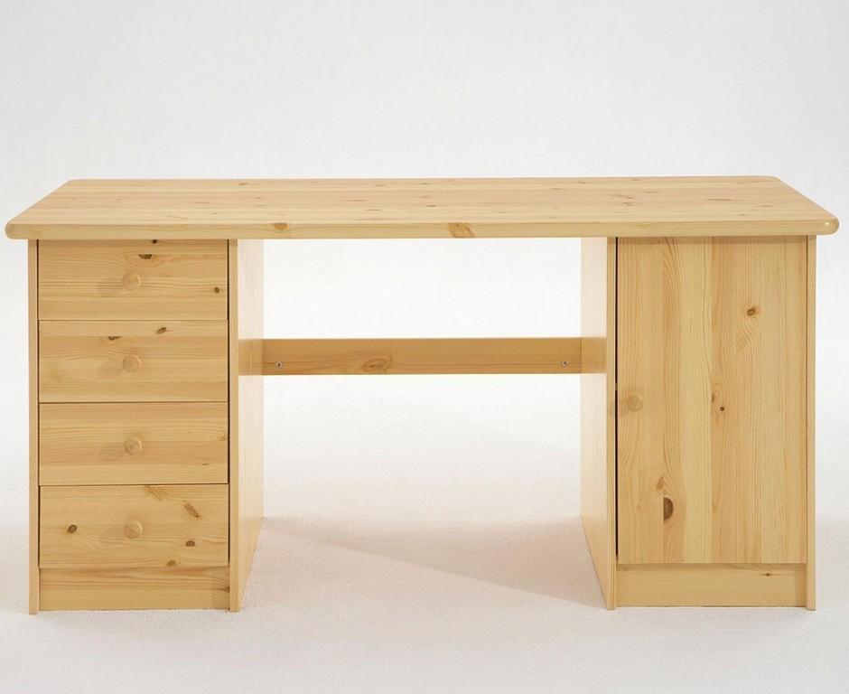 Schreibtisch 150x65x78cm 4 Schubladen Links 1 Tr Rechts Kiefer throughout proportions 1024 X 837