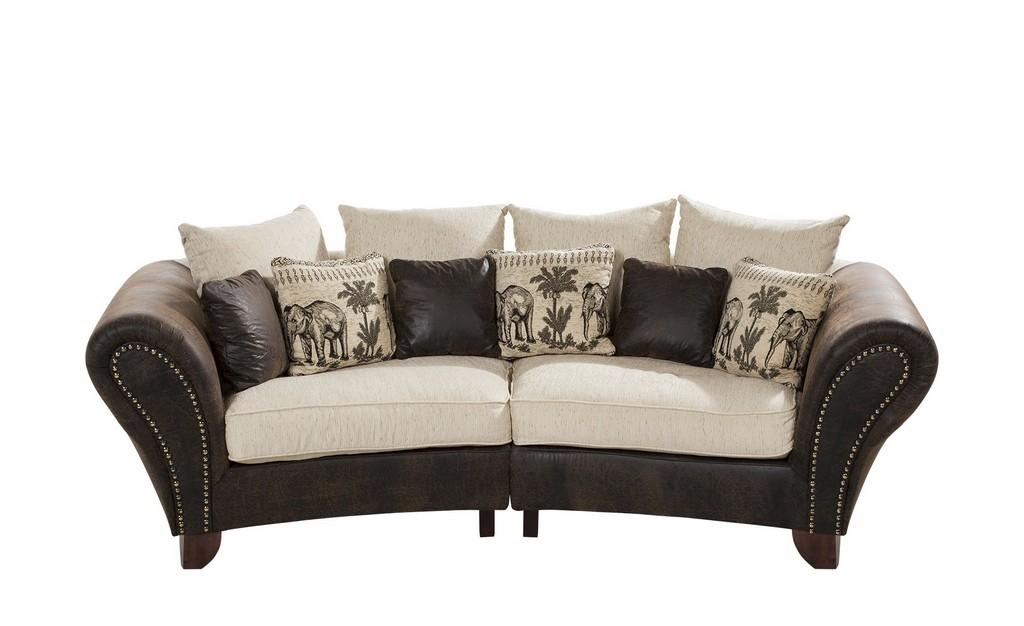 Smart Big Sofa Braunbeige Mikrofaserwebstoff Nadja throughout proportions 2000 X 1222