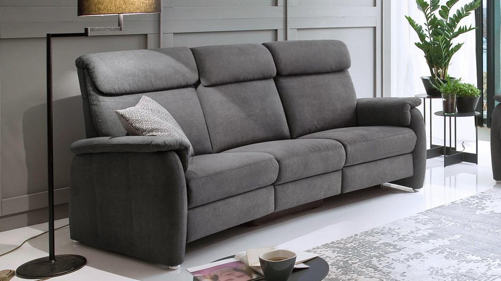 Sofa 3600 3 Sitzer Stoff Grau Mit Federkern Und Nosagfederung 222 Cm throughout sizing 1500 X 844
