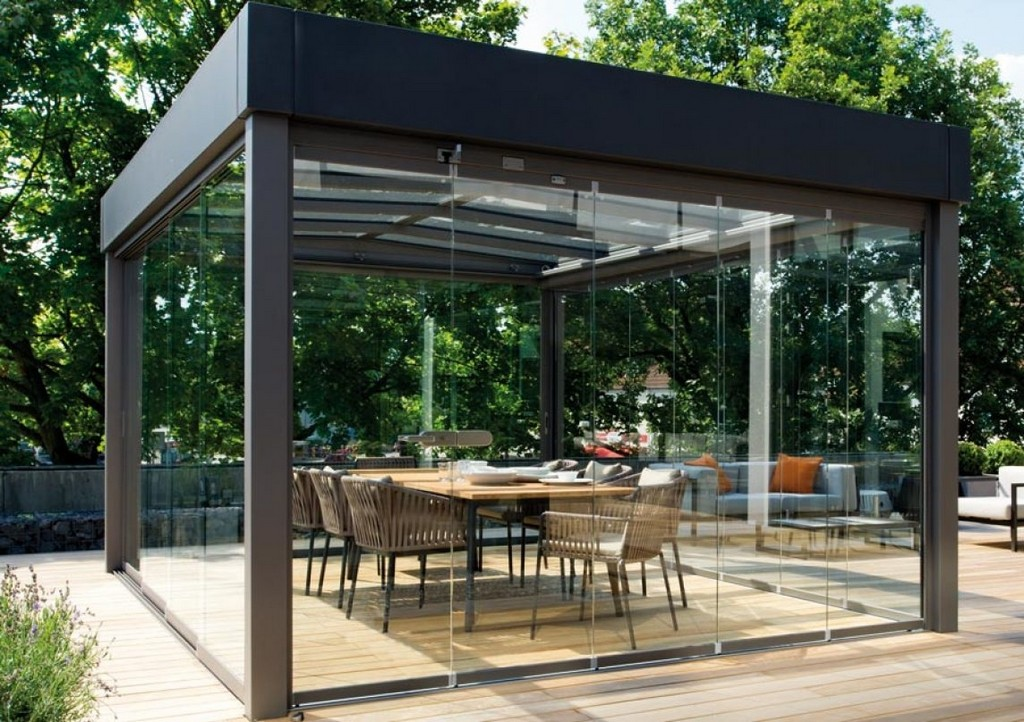 Solitr Im Bauhaus Stil Das Flachdach Glashaus Atrium Carr Von throughout size 1144 X 807