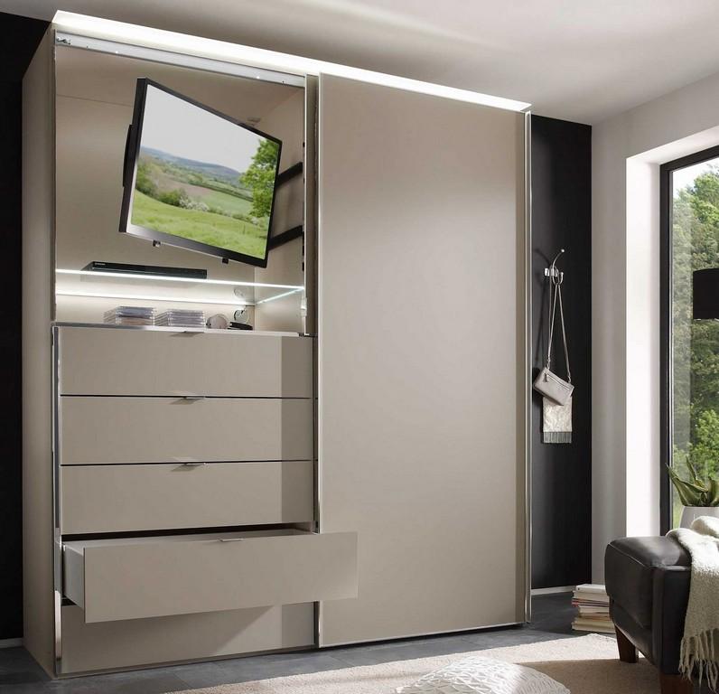 Staud Media Light Schwebetrenschrank Kleiderschrank Mit Tv Fach inside sizing 1382 X 1334