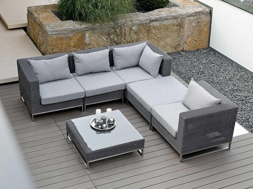 Stern Lounge Mittelelement Fontana Geflecht Basaltgrau Kissen Grau regarding dimensions 1200 X 900